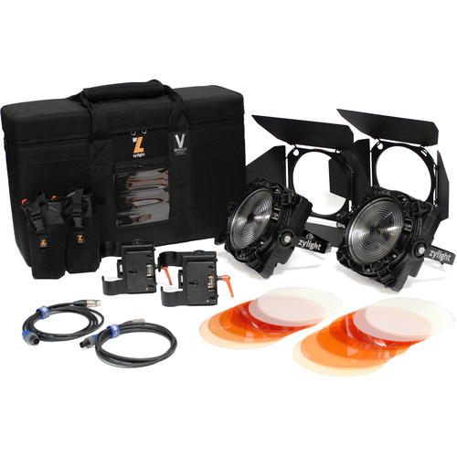 Zylight F8-200 Daylight LED Fresnel Dual Head ENG Kit with Gold Mount Battery Plates and Case