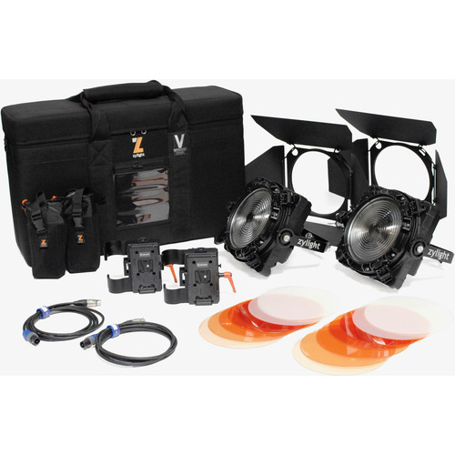 Zylight F8-200 Daylight LED Fresnel Dual Head ENG Kit with V-Mount Battery Plates and Case