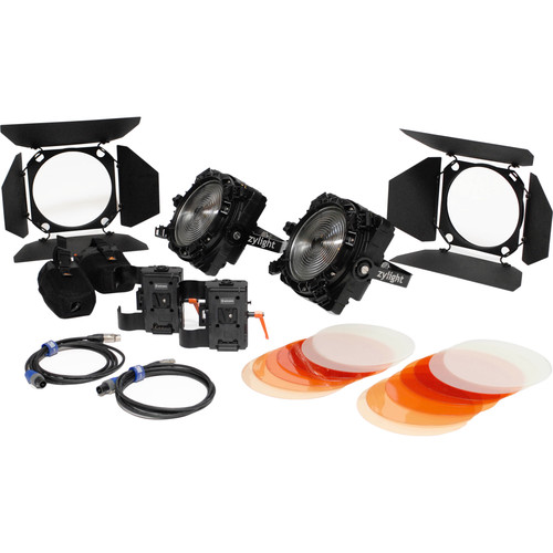 Zylight F8-200 Daylight LED Fresnel Dual Head ENG Kit with V-Mount Battery Plates