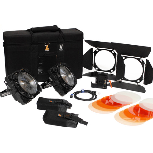 Zylight F8-100/200 Daylight LED Fresnel Combo ENG Kit with Gold Mount Battery Plates