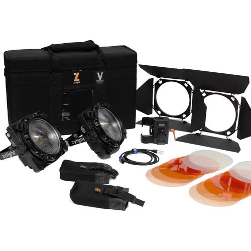 Zylight F8-100/200 Daylight LED Fresnel Combo ENG Kit with V-Mount Battery Plates
