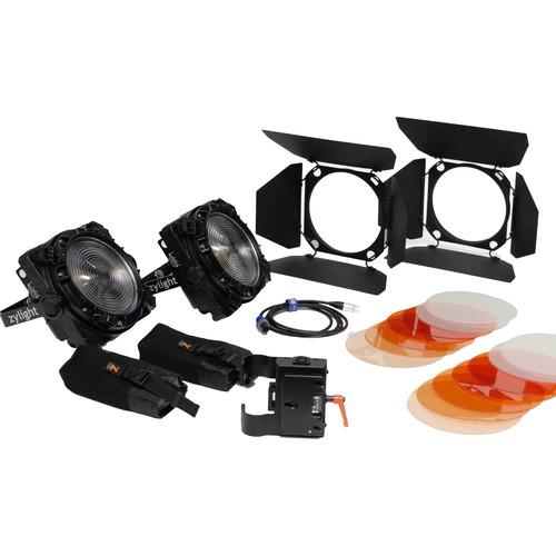 Zylight F8-100/200 Daylight LED Fresnel Combo ENG Kit with Gold Mount Battery Plates (No Case)