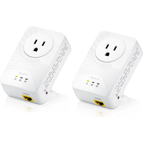 ZyXEL 500 Mb/s Wall-Plug FE Powerline Adapter w/AC Pass-through (2-Unit Pack)