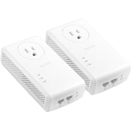 ZyXEL PLA5456KIT AV2000 HomePlug AV2 Pass-Thru Powerline 2-Port Gigabit Ethernet Adapter (2-Pack)