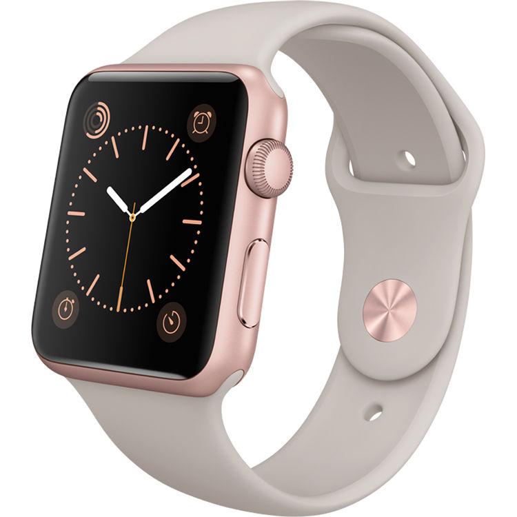 best service 4748c 8c596 Apple Watch Sport 42mm Smartwatch (2015, Rose Gold Aluminum Case, Stone  Sport Band)