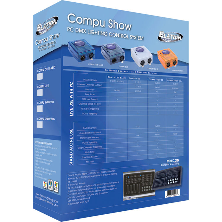Elation Professional Compu Show Advanced DMX Control Software Application