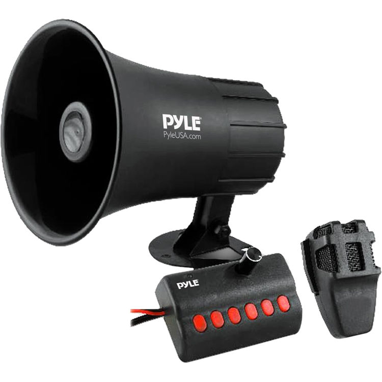 Pyle USA Megaphone Speaker Audio PA System with Wired Microphone Siren Alarm