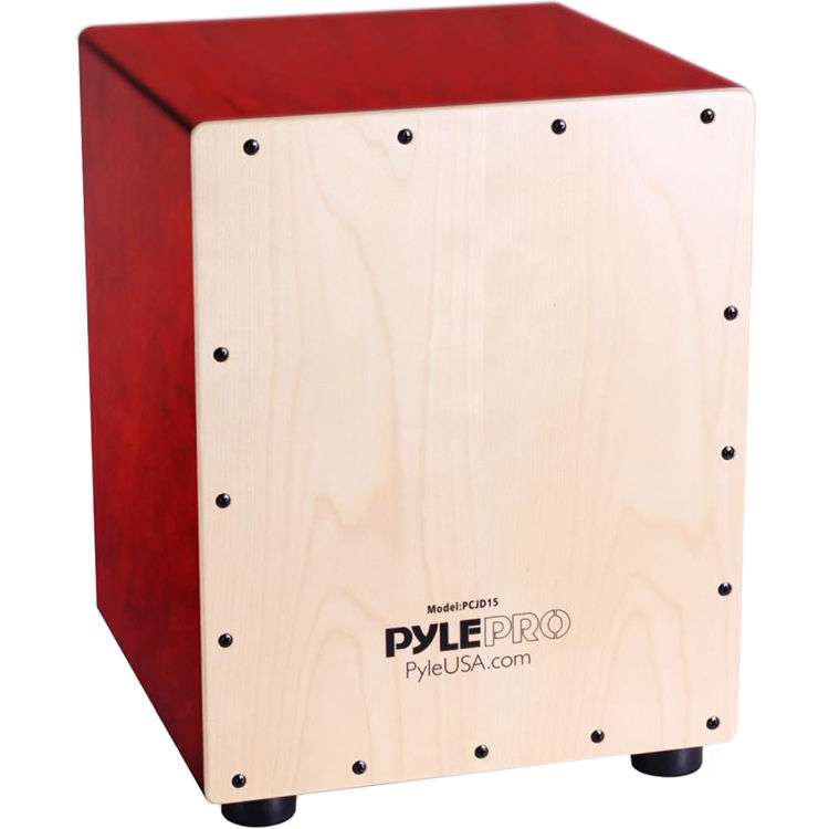 Pyle Pro Stringed Jam Cajon Wooden Percussion Box Birch Wood 18
