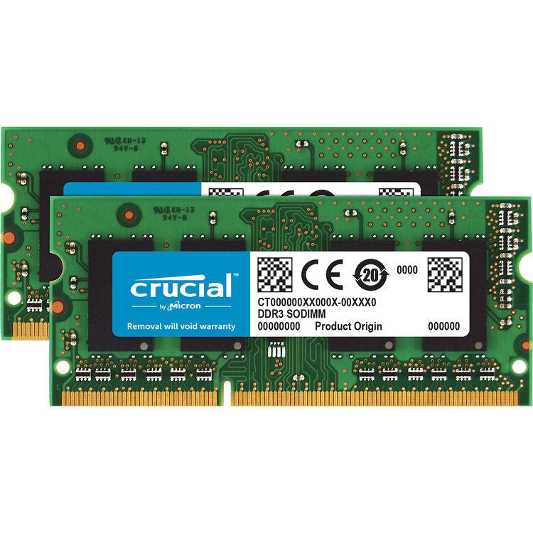 Crucial Compatible 16GB Kit 2x8GB DDR3 DDR3L 1600 MHz PC3-12800 Sodimm Apple MAC