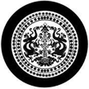 """Rosco Standard Black and White Glass Spectrum Gobo #81169 Dragon Crest (86mm = 3.4"""")"""