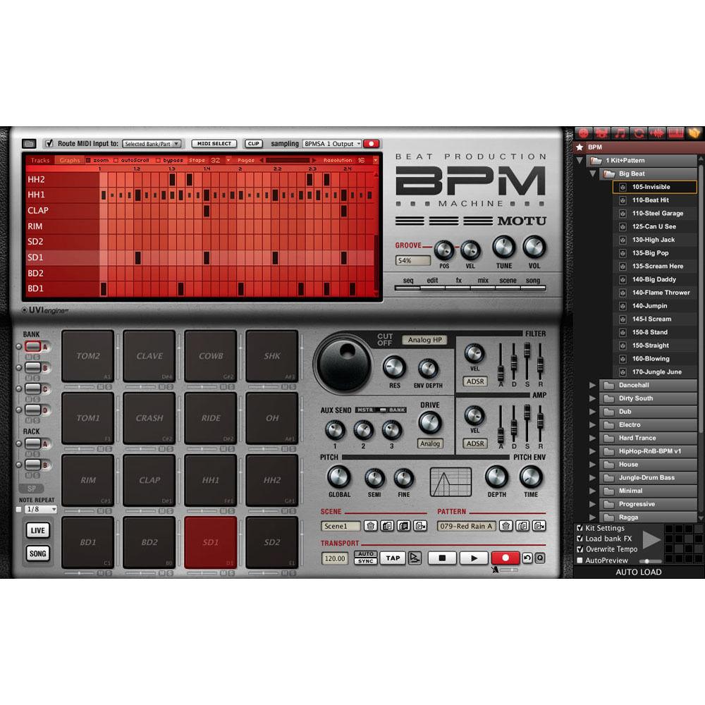 MOTU BPM 1 5 - Advanced Urban Rhythm Virtual Instrument