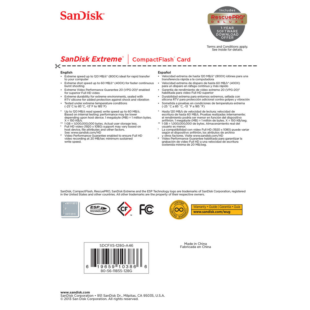 SanDisk 128 GB Extreme CompactFlash Memory Card