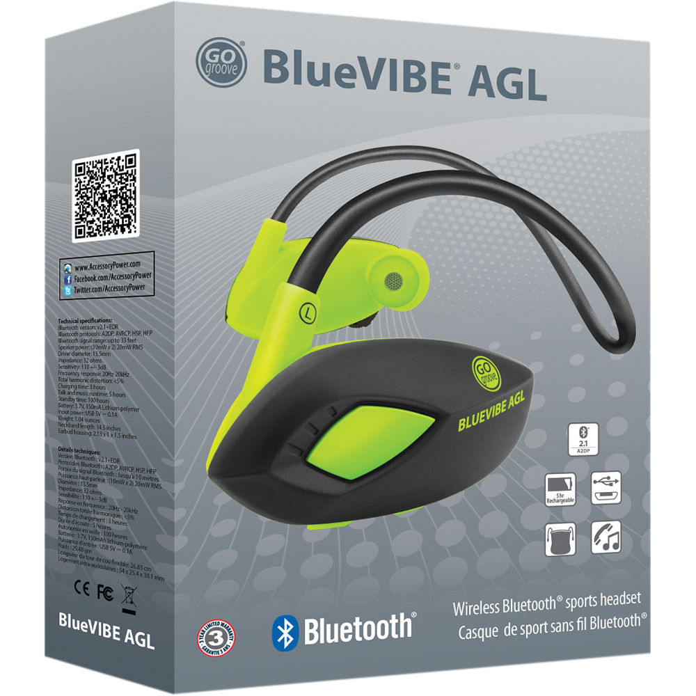 GOgroove BlueVIBE AGL Wireless Bluetooth Sport Headset with Stereo Earbud  Design, Hands-Free Microphone and Onboard Controls