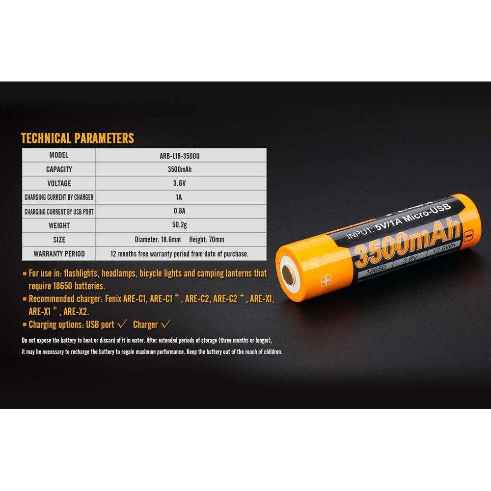 Fenix Flashlight 18650 Lithium-Ion Battery with Micro-USB Charging Port  (3 6V, 3500mAh)