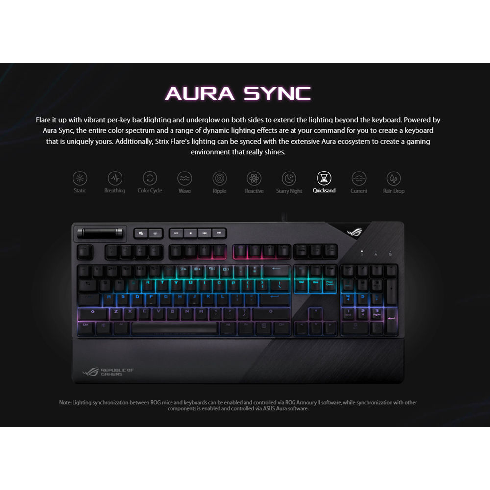 ASUS Republic of Gamers Strix Flare Backlit Mechanical Keyboard (Cherry MX  Red)