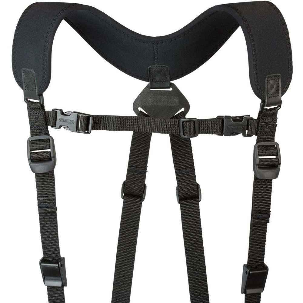ProMediaGear SS2DB Double Shoulder Sling Strap with SS2 Quick Connect Plugs  and PXM1 Manfrotto RC2 Plates (Black)