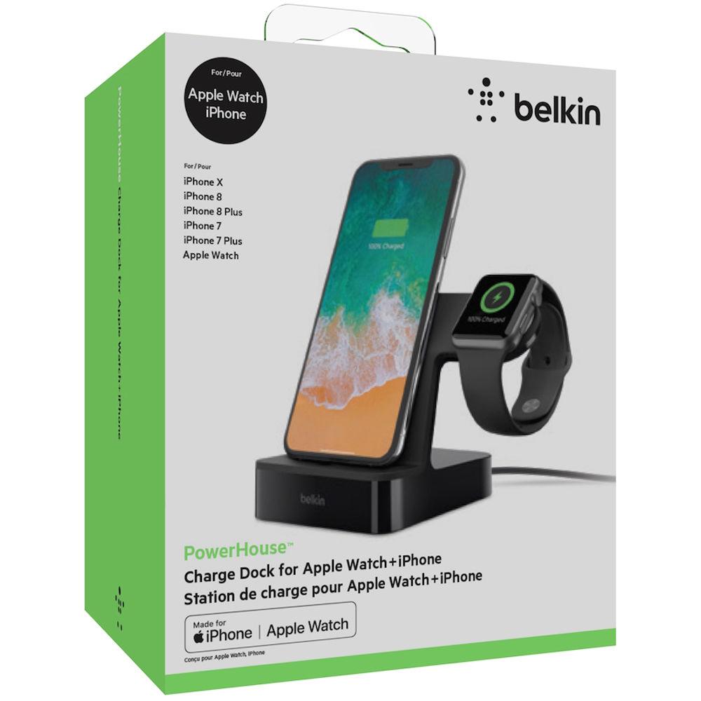 big sale 552f2 360ac Belkin PowerHouse 2-In-1 Charging Dock for Apple Watch & iPhone (Black)