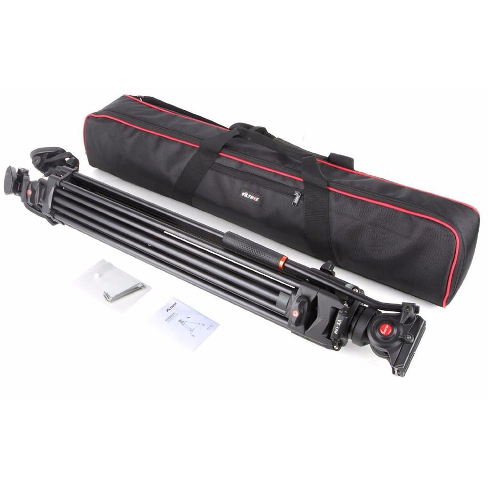 74 inch,Max Loading 10KG VILTROX VX-18M Professional Heavy Duty Video Camcorder Tripod with Fluid Drag Head and Quick Release Plate with Carrying Bag,Horseshoe Shaped Bracket