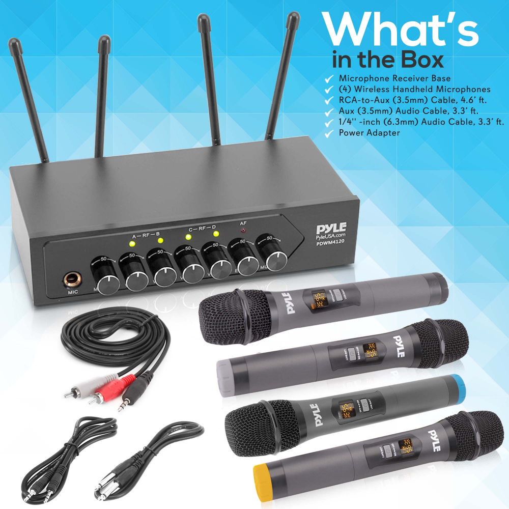 Pyle PDWM4120 Portable Battery Operated Four Bluetooth Cordless Microphone Set