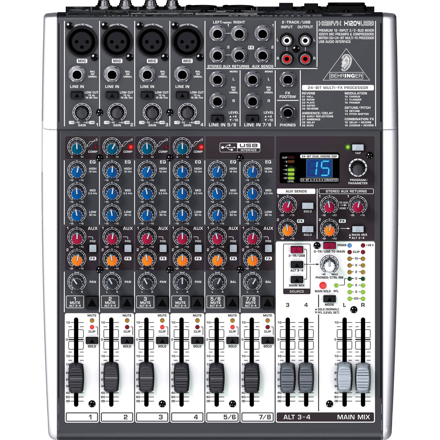 Effects Xenyx X1204usb Audio Behringer 12 Mixer Input With Usb EDH2IW9