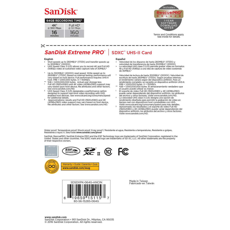 SanDisk 64GB Extreme PRO UHS-II SDXC Memory Card