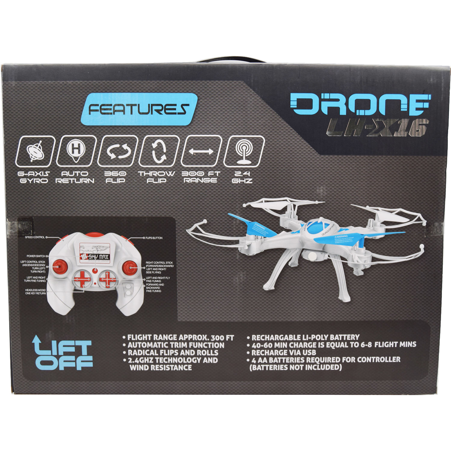 Lift Off LH-X16 2 4 GHz RC Drone (Blue)