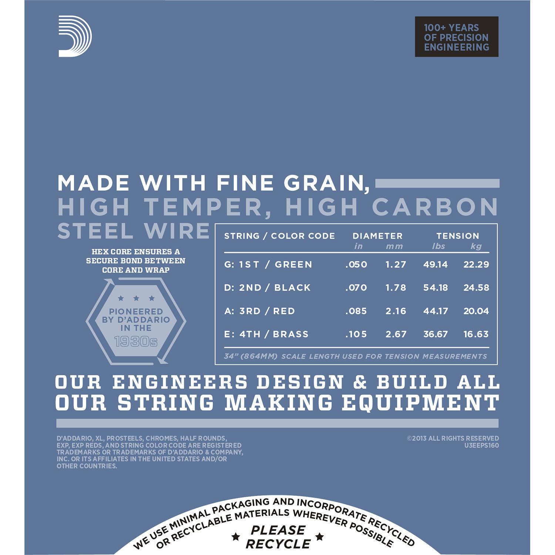 D'Addario EPS160 Medium XL ProSteels Electric Bass Strings (4-String, Long  Scale, 50 - 105)