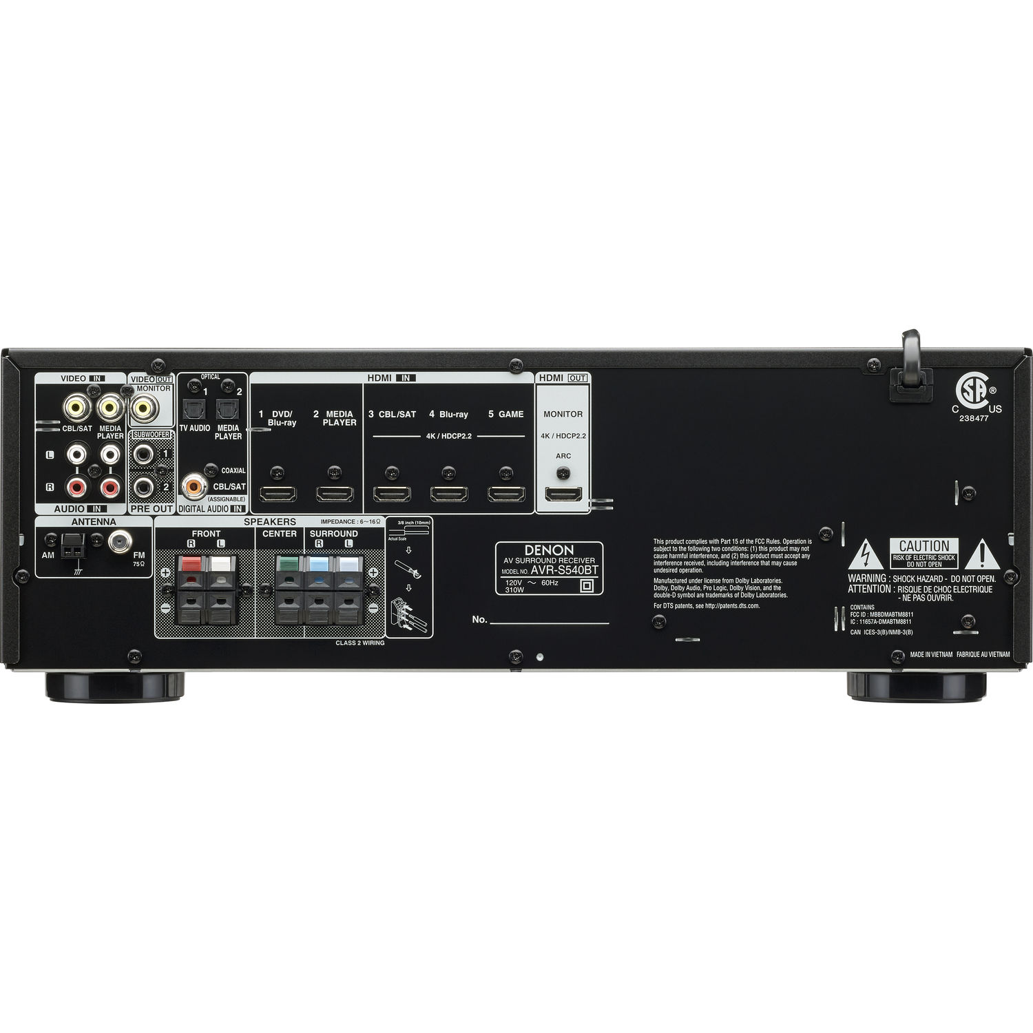Denon AVR-S540BT 5 2-Channel A/V Receiver