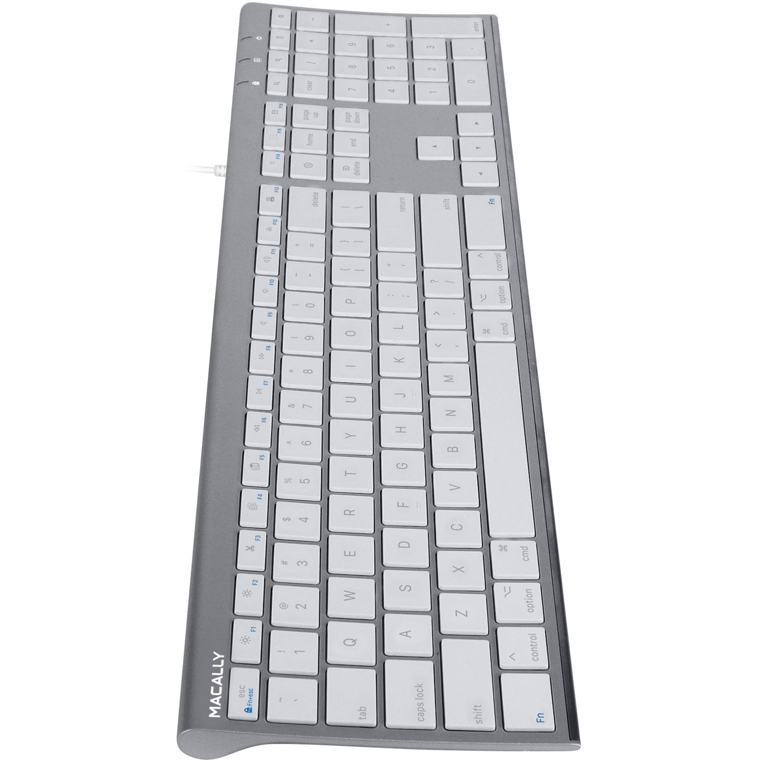 Macally Ultra Slim USB Wired Keyboard (Space Gray)