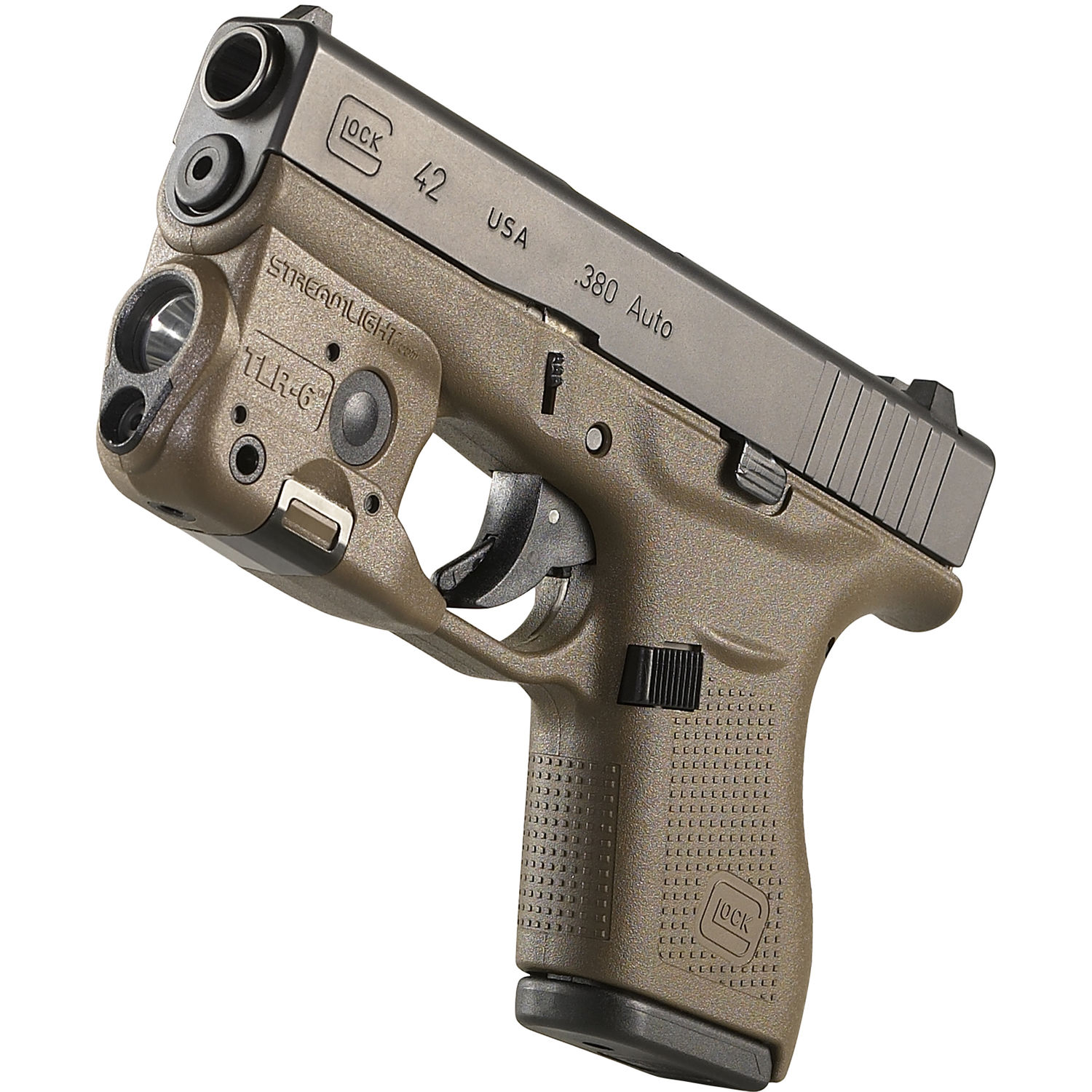 Streamlight TLR-6 Gun-Mounted Tactical Light with Red Aiming Laser for  Glock 42/43 (Flat Dark Earth)