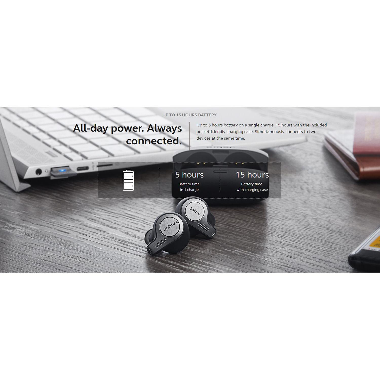 Jabra Evolve 65t Uc Wireless Earbuds Titanium Black