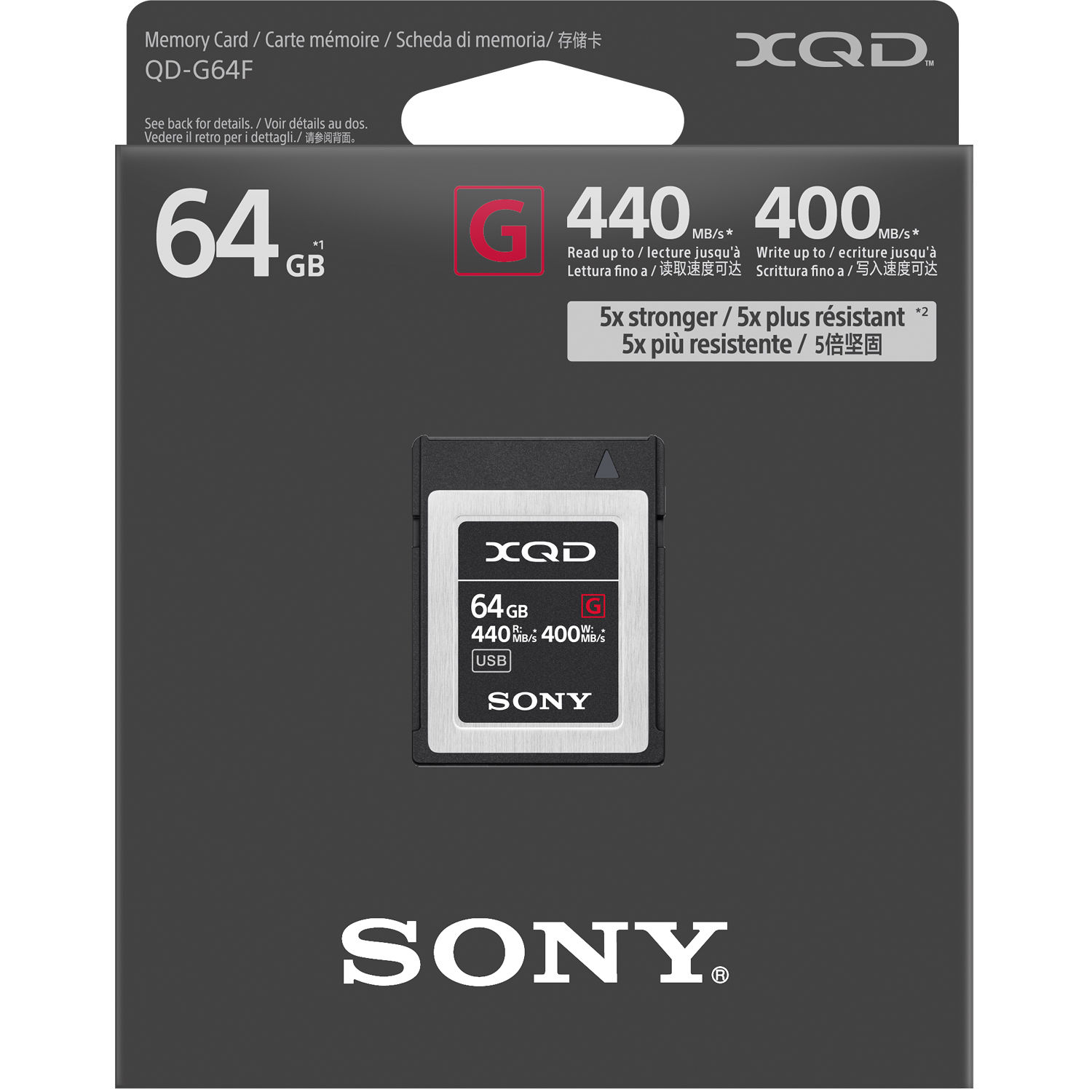 Sony Professional 64GB XQD Memory Card G Series w//File Rescue Software up to 440MB//s Read