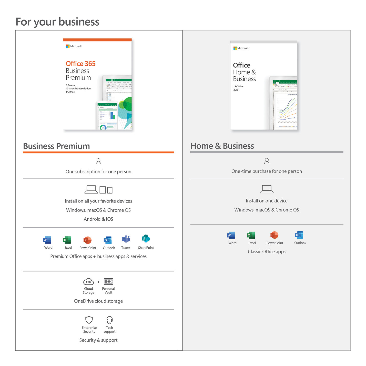 Microsoft Office Home and Business 2019 Windows Mac 1-User License Key T5D-03203