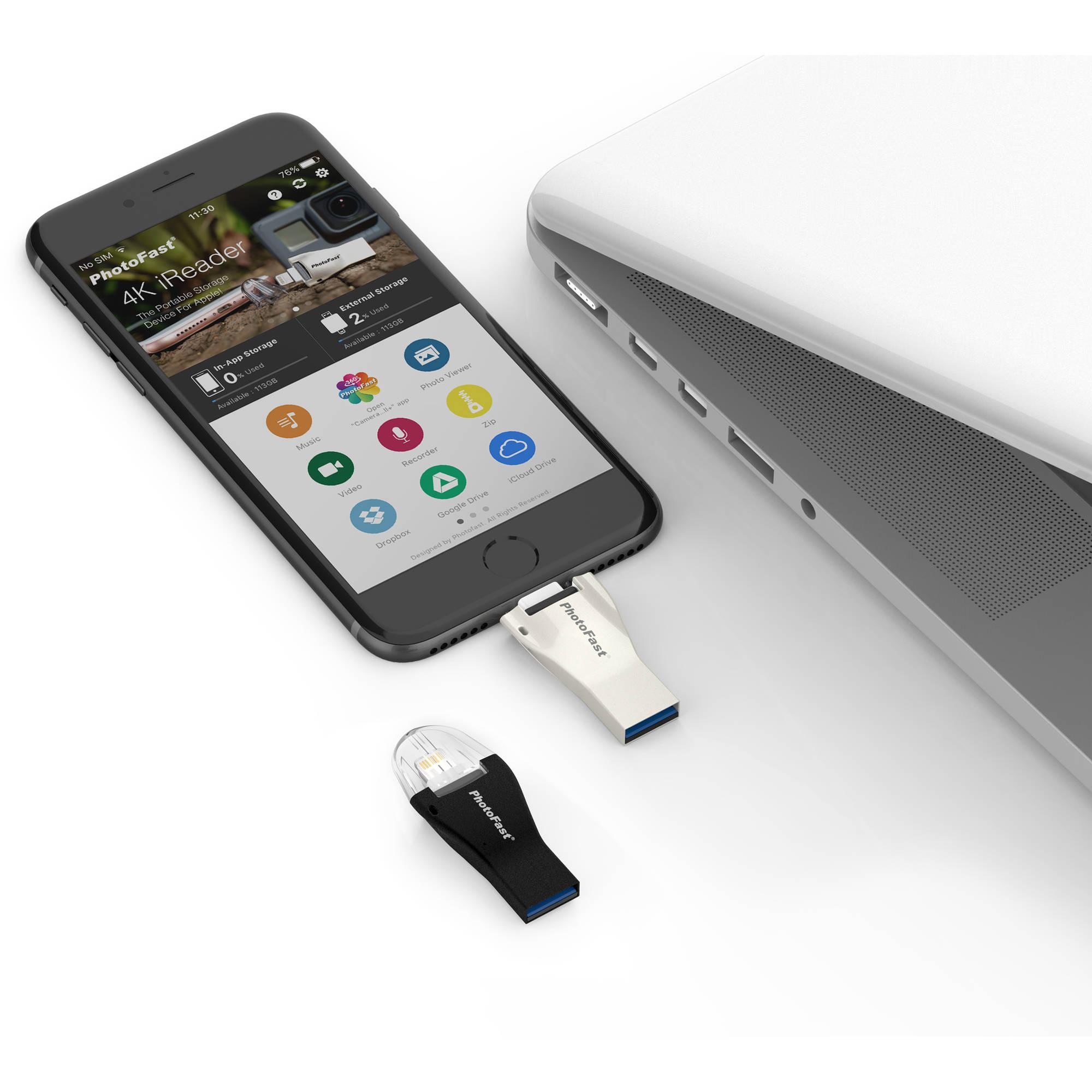 PhotoFast 4K iReader microSD Card Reader with Lightning & USB 3 0 Type-A