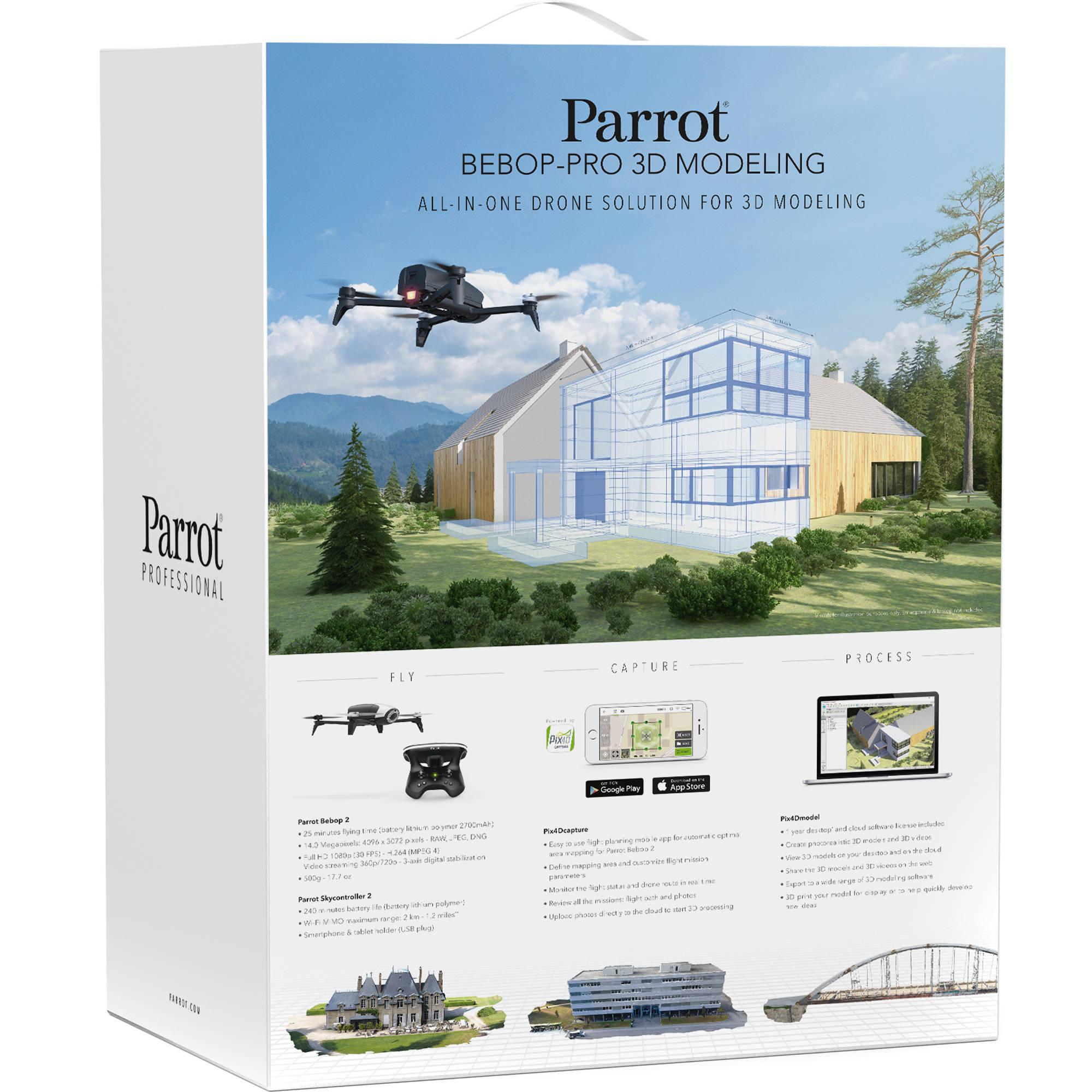 Parrot Bebop Pro 3D Modeling Drone with 14 Megapixel Flight Camera (White)