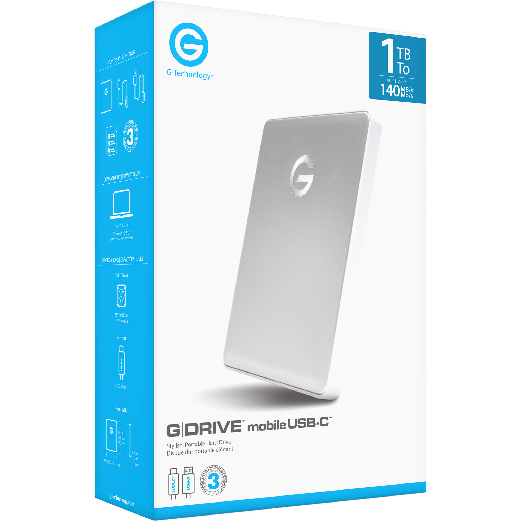 G-Technology 0G10264 1TB G-DRIVE mobile USB-C Portable Hard Drive Silver