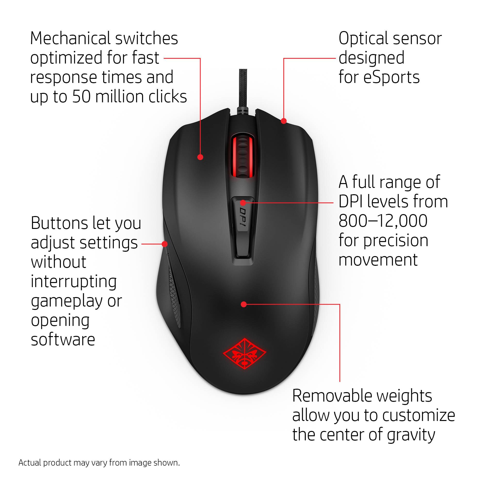 OMEN Mouse HP 600 Optical Cable USB 12000 dpi Black 1KF75AA#ABL