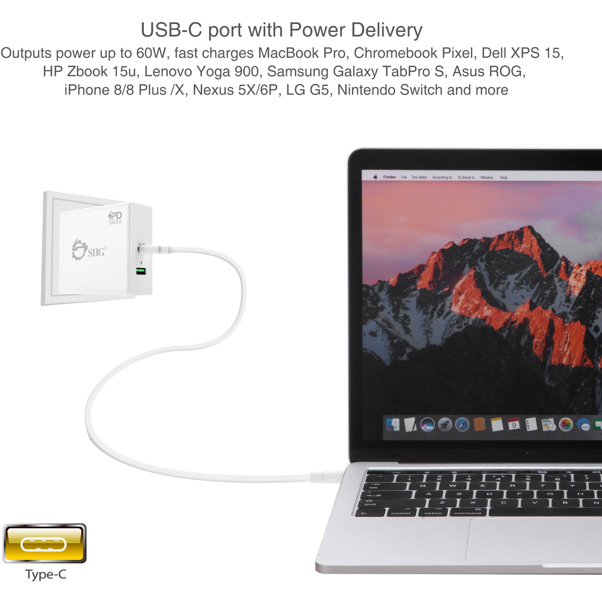 SIIG 65W USB Type-C Wall Charger with Power Delivery and QC 3 0 USB Port