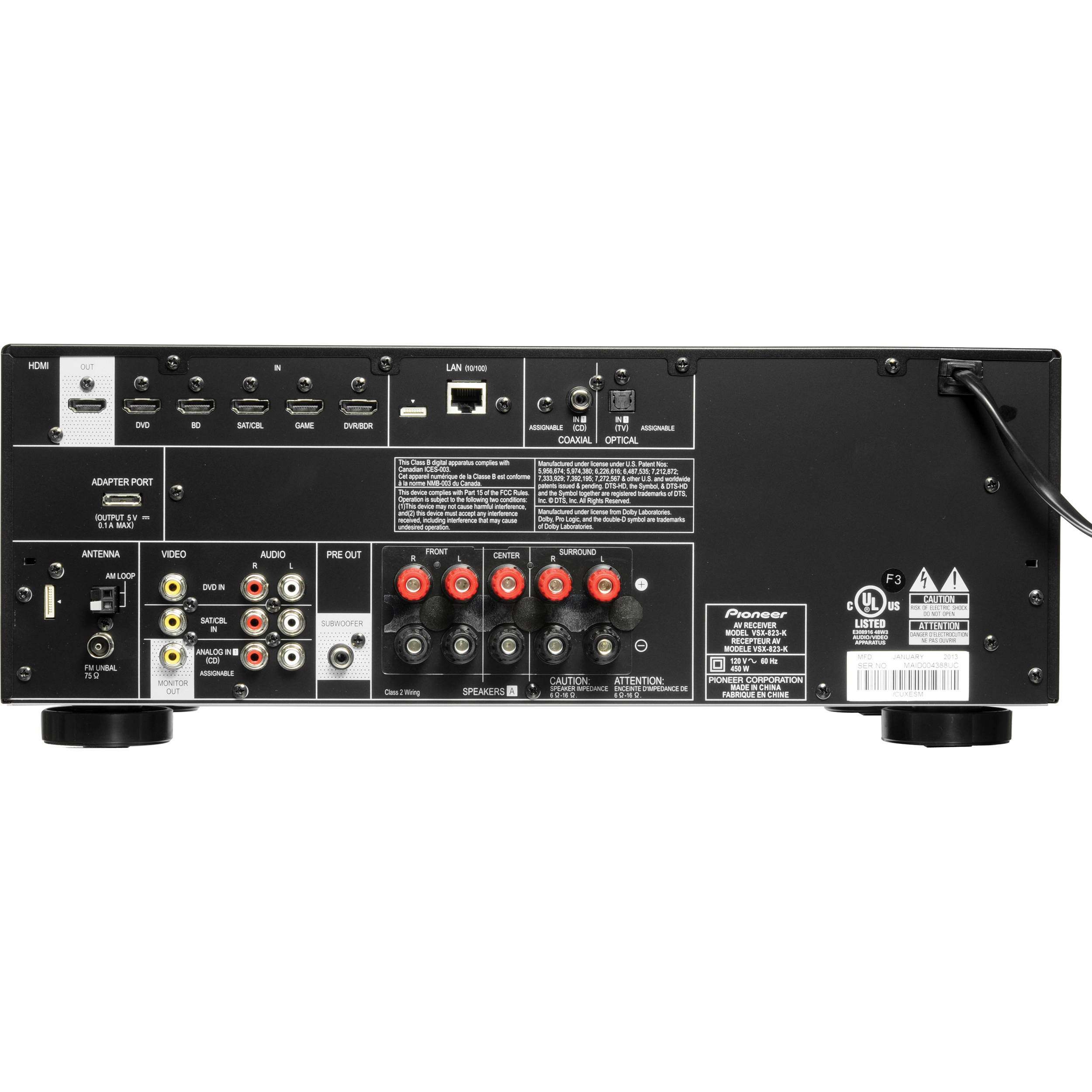 Pioneer VSX-823-K 5 1-Channel Network Ready AV Receiver