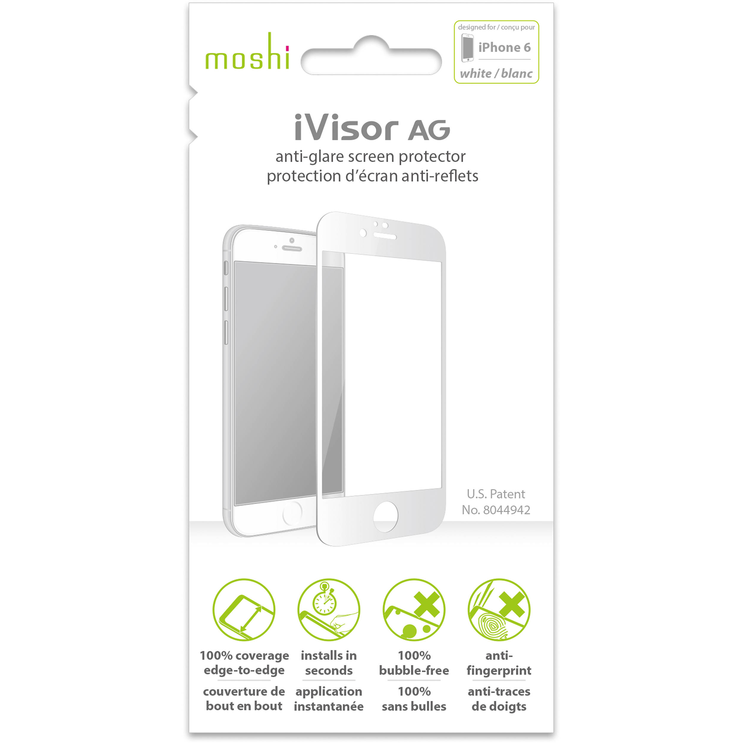 separation shoes 7c985 442ea Moshi iVisor AG Anti-Glare Screen Protector for iPhone 6/6s (White)