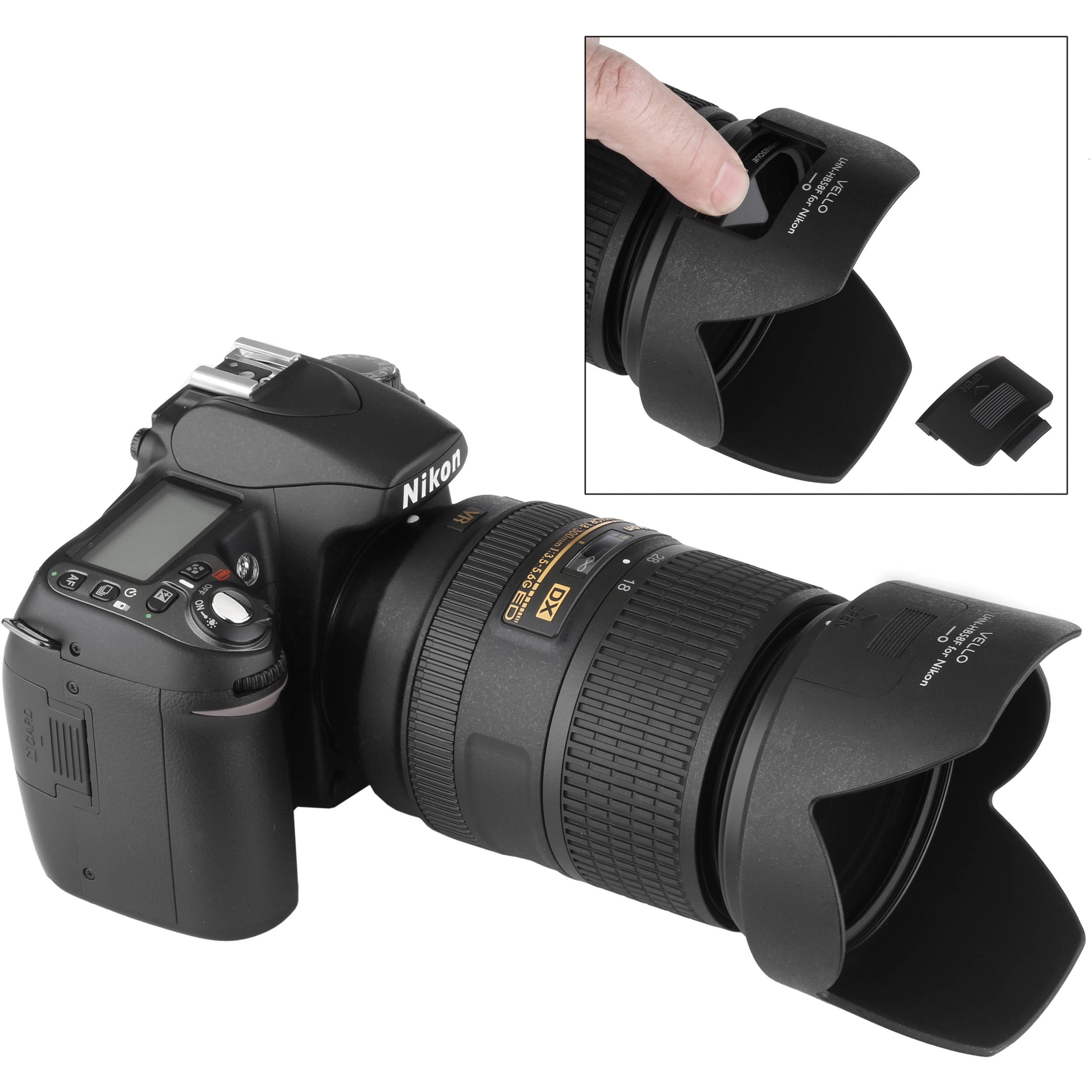 Vello HB-58F Dedicated Lens Hood with Filter Access Panel