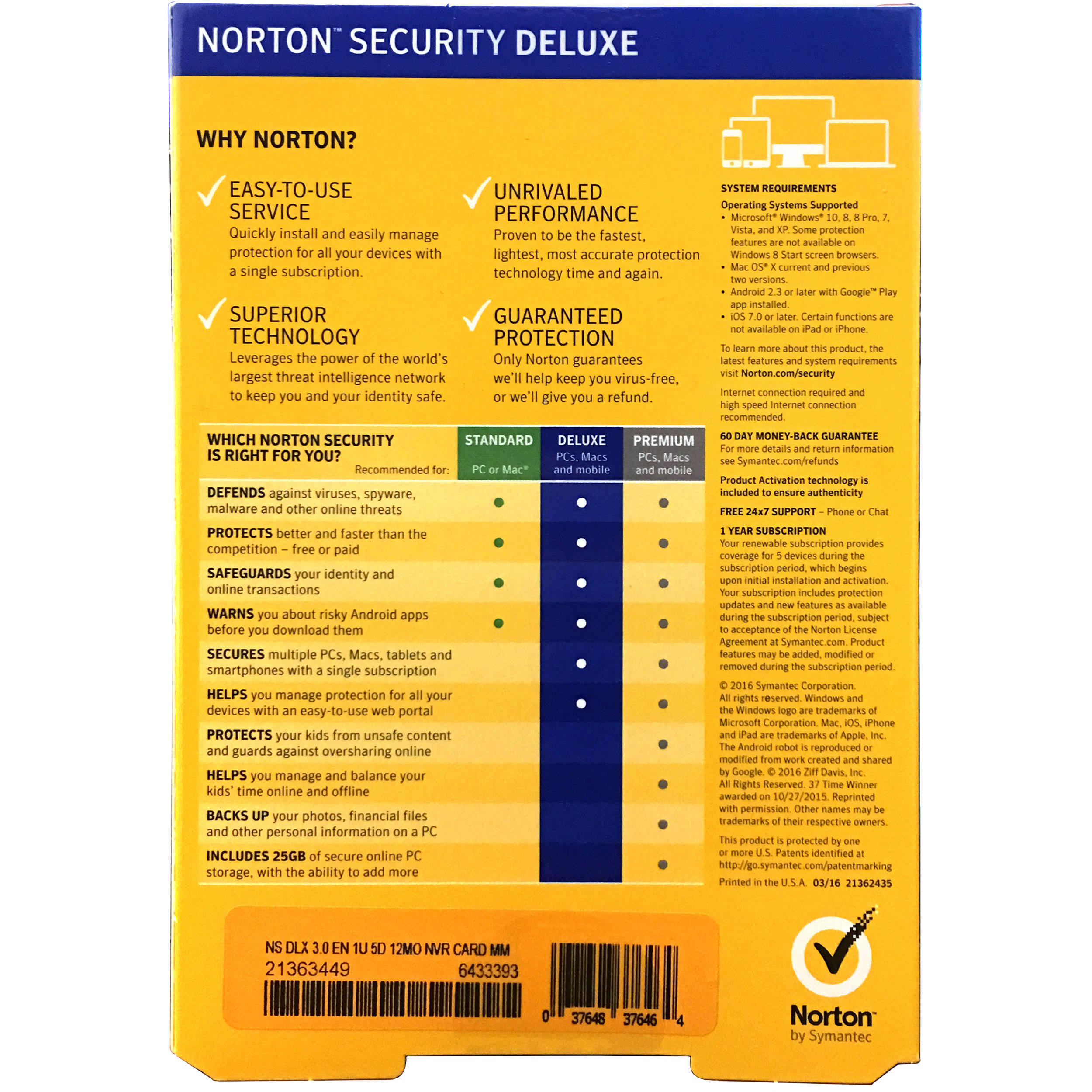 Symantec Norton Security Deluxe (5-Devices / 1-Year License / Boxed)