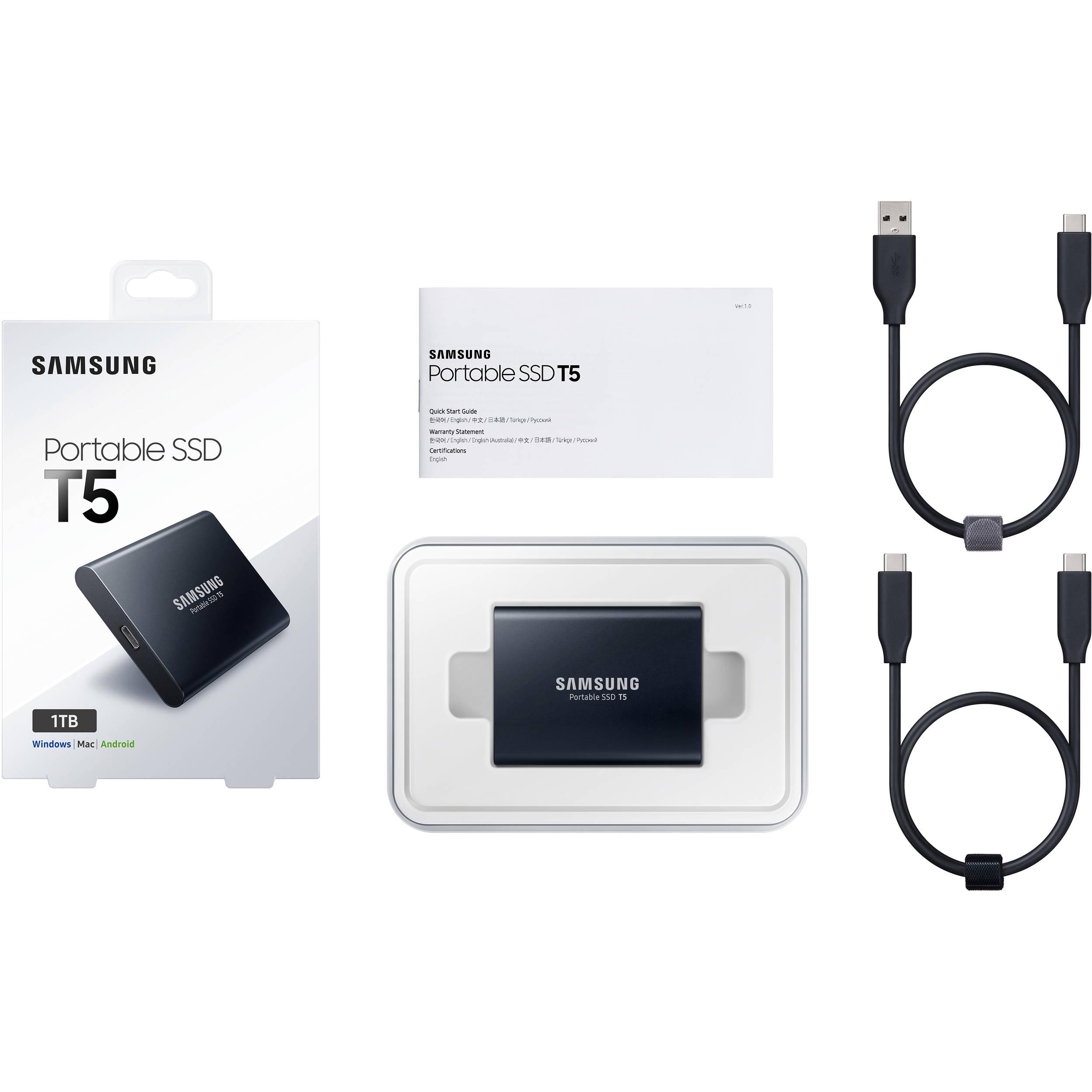 SAMSUNG T5 Portable 1TB 1T SSD USB 3.1 External Solid State Drive New MU-PA1T0B