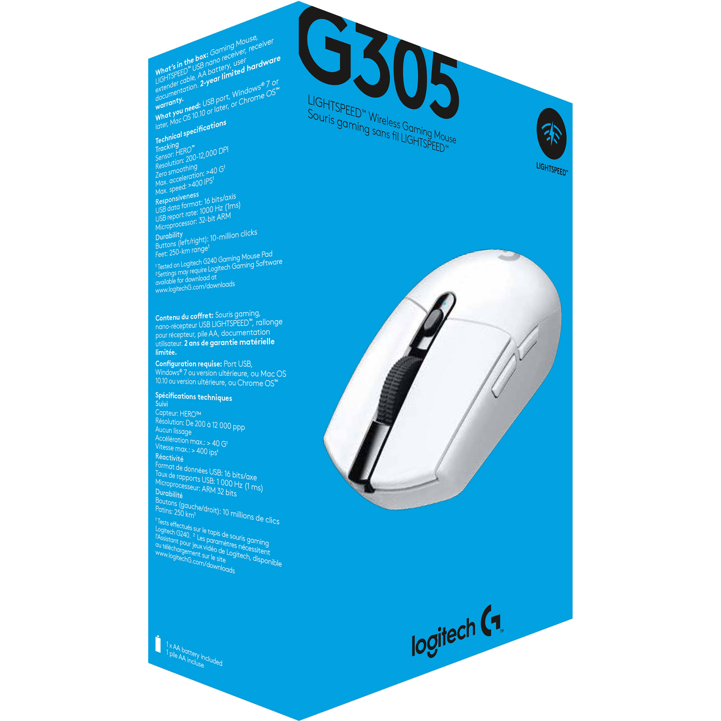 Logitech G305 LIGHTSPEED Wireless Mouse (White)