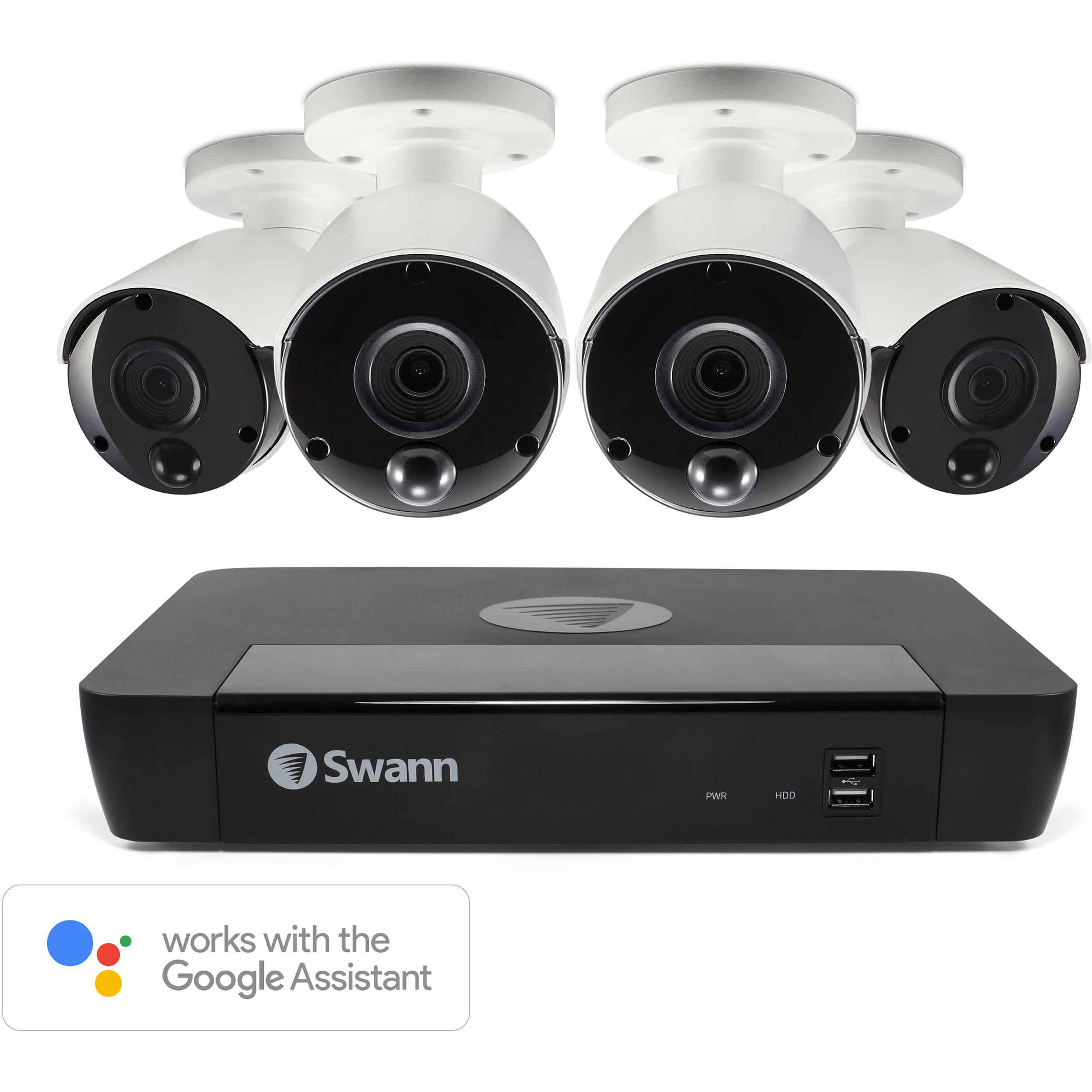 Swann 8-Channel 4K UHD NVR with 2TB HDD & 4 4K Outdoor Night Vision Bullet  Cameras