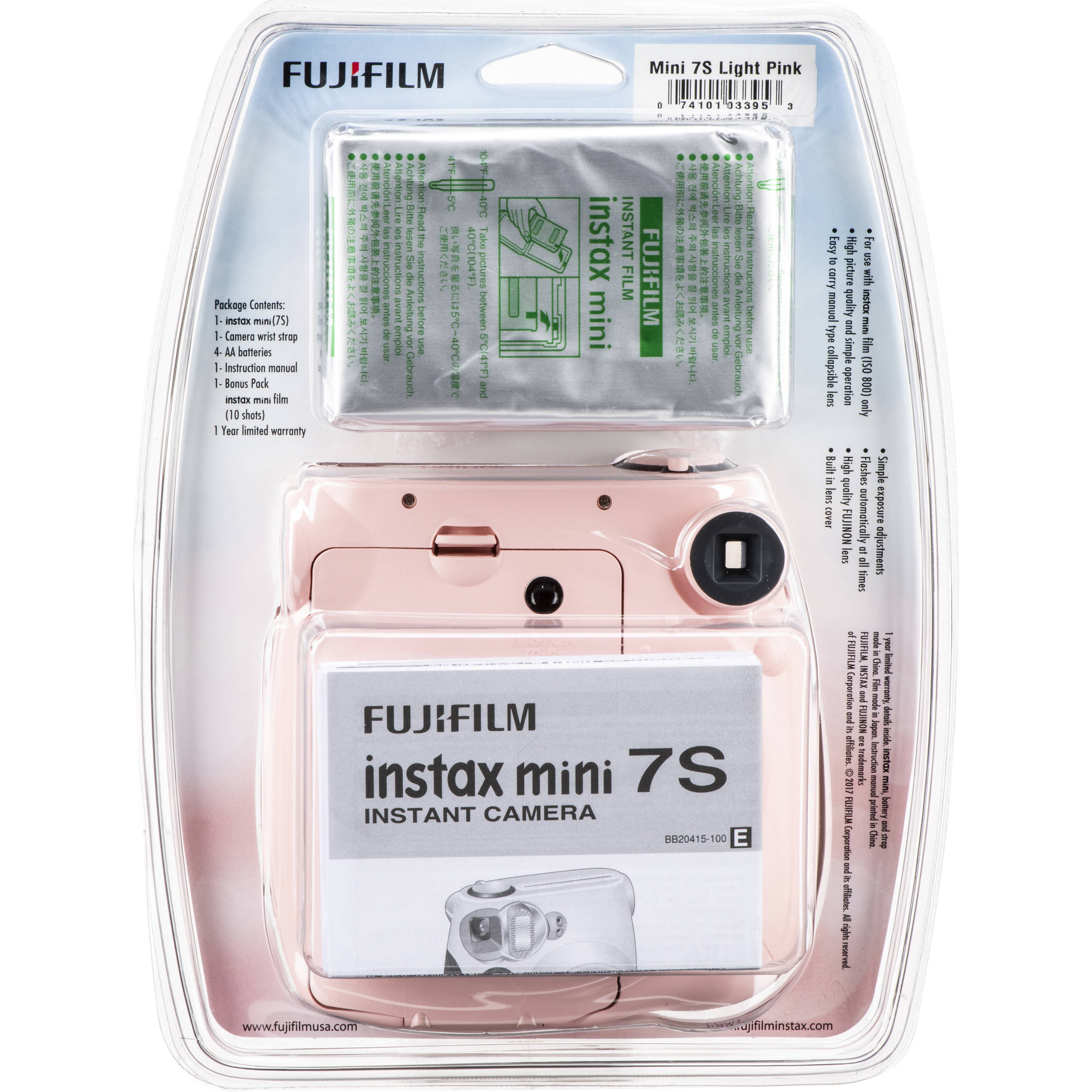 FUJIFILM INSTAX Mini 7S Instant Film Camera with Film (Light Pink)