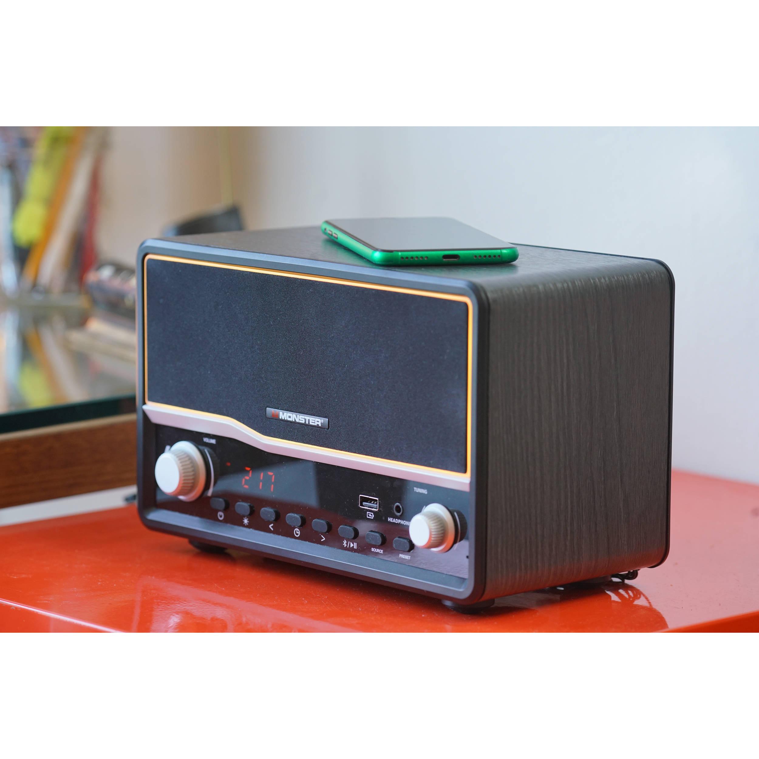 Monster Decora Wireless Bluetooth Speaker and Dual Alarm Clock Radio