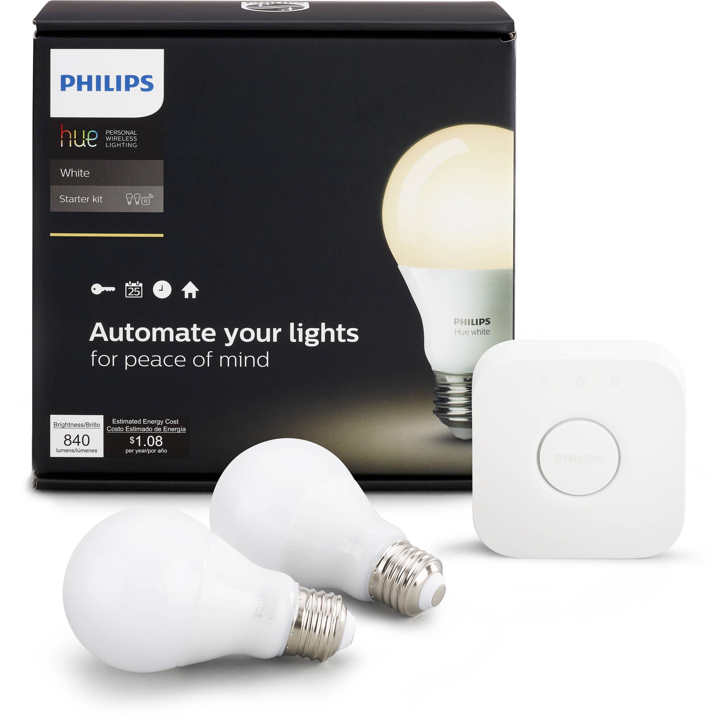 Philips Hue A19 Starter Kit (White, 2-Pack)