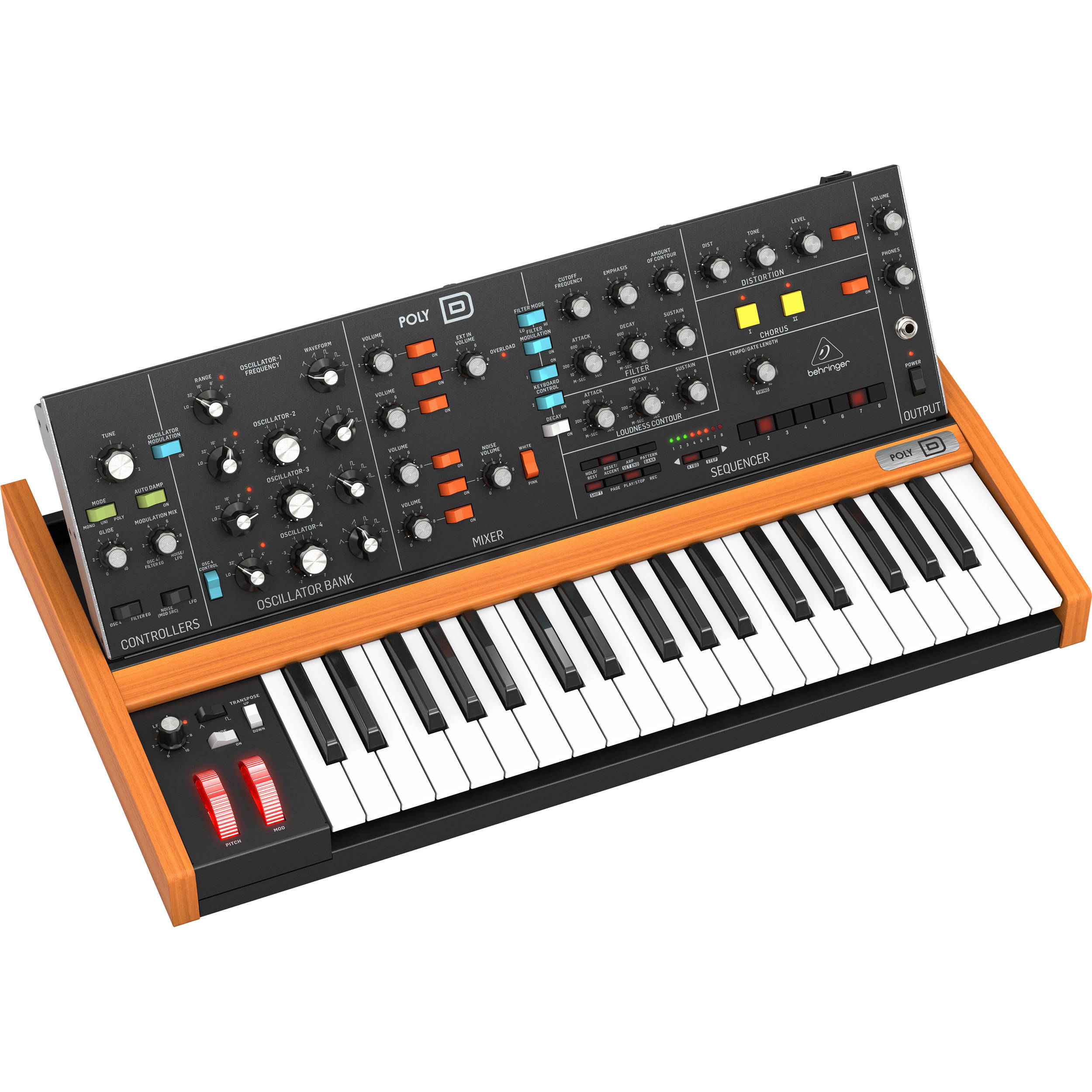 Behringer Poly D 4 Voice Polyphonic Analog Synthesizer Poly D Poly d from behringer is based on their own model d, which in turn is based on moog's minimoog model d, but expanded in quite a few ways. behringer poly d 4 voice polyphonic analog synthesizer with ladder style filter