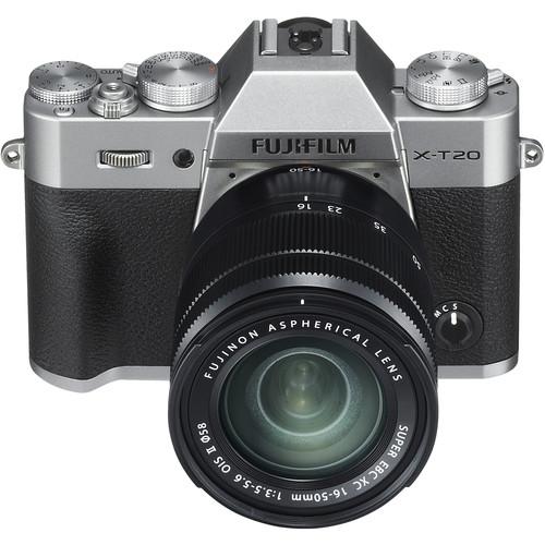 Cámara digital sin espejo FUJIFILM X-T20 con lente de 16-50 mm (plateado)